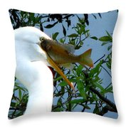 Great Egret With Catch 2 Throw Pillow