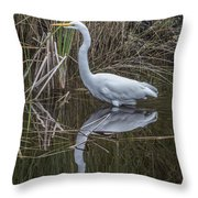 Great Egret With Reflection Throw Pillow