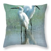 Great Egrets Throw Pillow by Betty LaRue