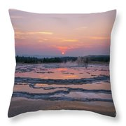 Great Fountain Geyser Sunset Reflections Throw Pillow