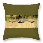Great Gray Owl In Flight Throw Pillow