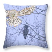 Great Gray Owl Together Throw Pillow