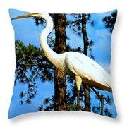 Great Heron Art Throw Pillow