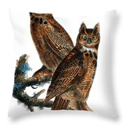 Great Horned Owl Audubon Birds Of America 1st Edition 1840 Royal Octavo Plate 39 Throw Pillow
