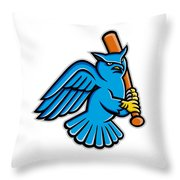 Great Horned Owl Baseball Mascot Throw Pillow