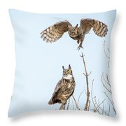 Great Horned Owl Couple Throw Pillow