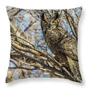 Great Horned Owl In Cottonwood Tree Throw Pillow