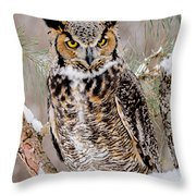 Great Horned Owl Nature Wear Throw Pillow