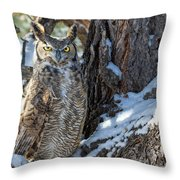 Great Horned Owl On Snowy Branch Throw Pillow