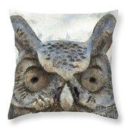 Great Horned Owl Pencil Throw Pillow