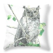 Great Horned Owl Perched In A Tree Throw Pillow