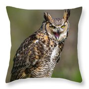Great Horned Owl Screeching Throw Pillow