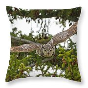 Great Horned Owl Takeoff Throw Pillow