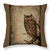 Great Horned Owl With Textures Throw Pillow