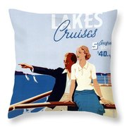 Great Lakes Cruises - Canadian Pacific - Retro Travel Poster - Vintage Poster Throw Pillow