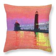 Great Lakes Light Throw Pillow