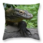 Great Look At A Komodo Dragon With Long Claws Throw Pillow