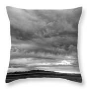 Great Salt Lake Clouds At Sunset - Black And White Throw Pillow