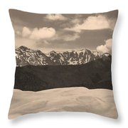 Great Sand Dunes Panorama 1 Sepia Throw Pillow