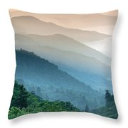 Great Smoky Mountains National Park Oconaluftee River Valley Sunrise Throw Pillow