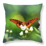 Great Spangled Fritillary Looking At Me Throw Pillow
