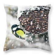 Great Tit In The Snow Card Throw Pillow