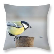 Great Tit On The Tube  Throw Pillow