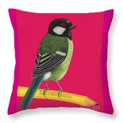 Great Tit Perched On Pencil Throw Pillow