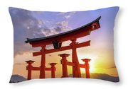 Great Torii Of Miyajima At Sunset Throw Pillow