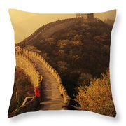 Great Wall In The Mist Throw Pillow