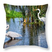 Great White And Great Blue Throw Pillow