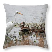 Great White Egret And Ducks Throw Pillow
