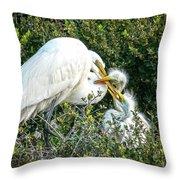 Great White Egret Family Throw Pillow
