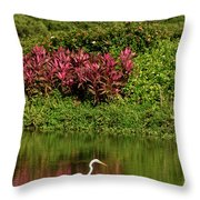 Great White Egret Fishing In A Pond With Tropical Plants And Sie Throw Pillow