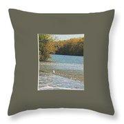 Great White Egret Fishing  Throw Pillow