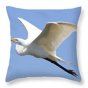 Great White Egret In Flight . 40d6845 Throw Pillow