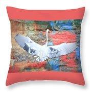 Great White Egret Landing Throw Pillow