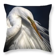 Great White Egret Print One Throw Pillow