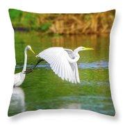 Great White Egrets Throw Pillow