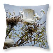 Great Egrets, Nest Building Throw Pillow