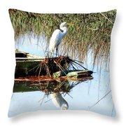 Great White On Row Boat Throw Pillow