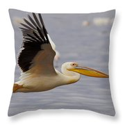 Great White Pelican In Flight Throw Pillow