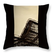 Great White Roller Coaster - Adventure Pier Wildwood Nj In Sepia Triptych 1 Throw Pillow