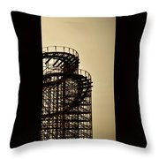 Great White Roller Coaster - Adventure Pier Wildwood Nj In Sepia Triptych 3 Throw Pillow