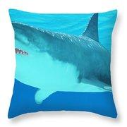 Great White Shark Close-up Throw Pillow