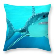 Great White Shark With Sunrays Throw Pillow