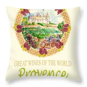 Great Wines Of The World - Provence Throw Pillow by John Keaton