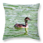 Grebe On Green Water Throw Pillow