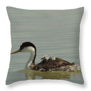 Grebe With Two Chicks On Its Back Throw Pillow