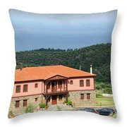 Greece Summer Vacation Landscape Throw Pillow